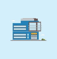 Modern low-rise police station building front view vector