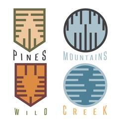 Outdoor adventure rhythm style sticker set vector