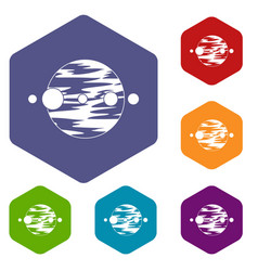 Planet and moons icons set hexagon vector