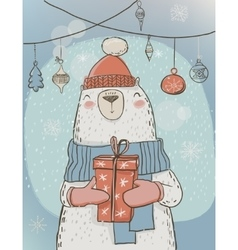 polar christmas bear with present box vector image vector image