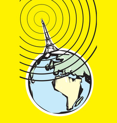 Radio Broadcast Earth vector image vector image