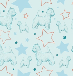 Seamless pattern with dogs and stars vector image