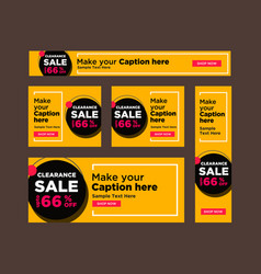set of black and yellow sale banners vector image