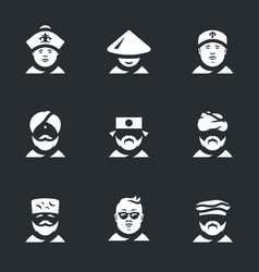 Set of nation people icons vector