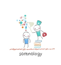Somnology standing on a pile of books and dreams vector