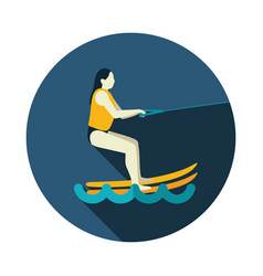 Water skiing icon summer vacation vector