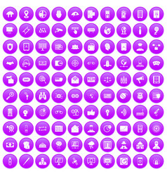 100 security icons set purple vector