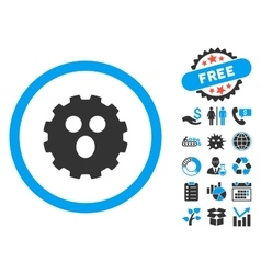 Surprized gear smiley flat icon with bonus vector