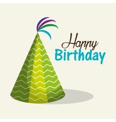 Hat green happy birthday party graphic vector