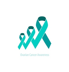 Ovarian cancer teal ribbon awareness vector