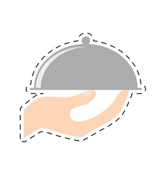 Hand holding tray catering food cut line vector