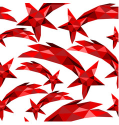shooting star seamless pattern red low poly xmas vector image