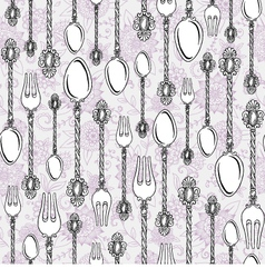 Vintage spoons and forks vector