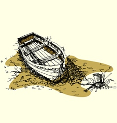 Sketch drawing boat on ground vector
