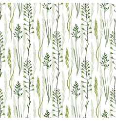 Wild flowers seamless pattern background eco vector