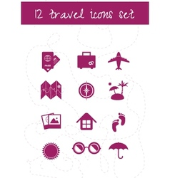 Set of twelve travel icons vector