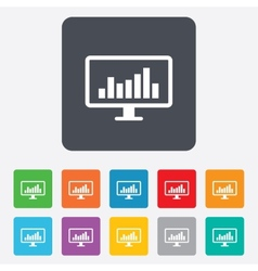 Computer monitor sign icon market monitoring vector