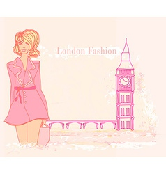 Beautiful woman and big ben in london card vector
