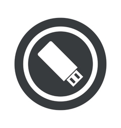 Round black USB stick sign vector image
