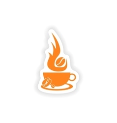 Icon sticker realistic design on paper coffee vector
