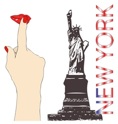 A big kiss from new york vector