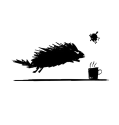 Funny rodent black silhouette sketch for your vector