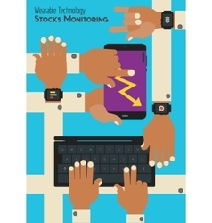 Wearable technology concept monitoring stocks vector