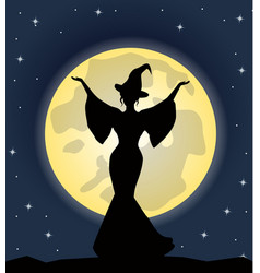 beautiful witch standing on background of the moon vector image vector image