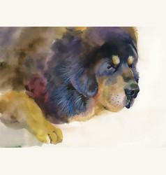 Big sad dog lying on beige background vector