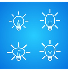 bulbs icons set on blue vector image vector image