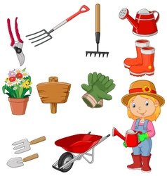 Cartoon women holding watering gardening tool vector image