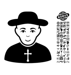 Christian priest flat icon with bonus vector