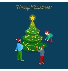 Christmas Isometric Greeting Card vector image