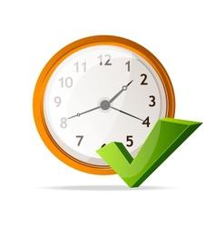 Clock icon and check mark vector
