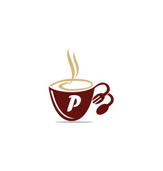 Coffee cup restaurant letter p vector