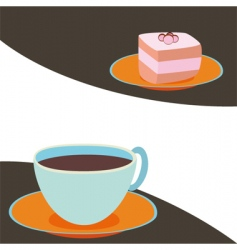 coffee with cake vector image vector image
