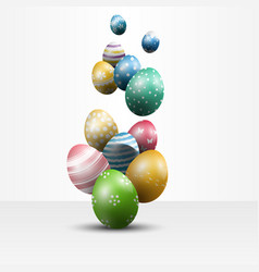 Colorful easter eggs on white background vector