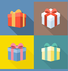 colorful present box icons set vector image