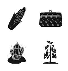 Corn cosmetic bag and other web icon in black vector