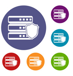 Database with gray shield icons set vector