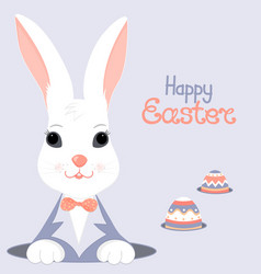 easter bunny and paschal egg looks out of the hole vector image