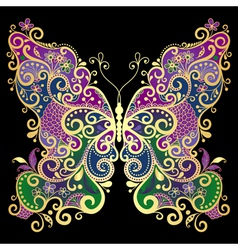 Fantasy gold-colorful butterfly vector image