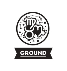 Flat icon in black and white style zodiacal earth vector