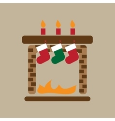 Flat iconon stylish background christmas fireplace vector