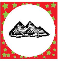 giza pyramids of egypt black 8-bit vector image