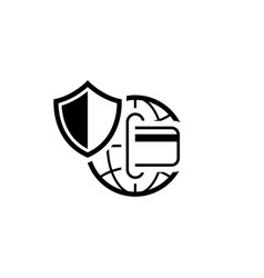 Global safety payment icon flat design vector