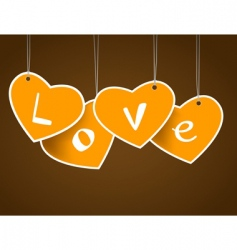 hanging hearts vector image vector image