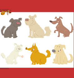 Happy dogs cartoon characters vector