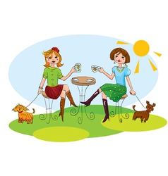 Happy friends have cups of coffee and chatting vector image vector image