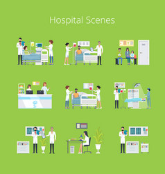 Hospital scenes and services vector